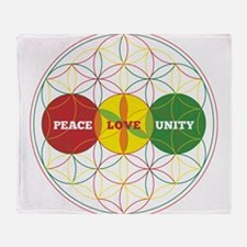 PEACE LOVE UNITY - flower of life Throw Blanket