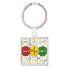 PEACE LOVE UNITY - flower of life Keychains