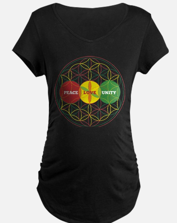 PEACE LOVE UNITY - flower of life Maternity T-Shir