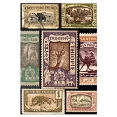 African Animals on Vintage Stamps Framed Print