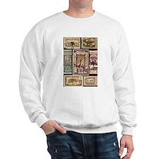 African Animals on Vintage Stamps Sweatshirt