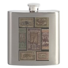African Animals on Vintage Stamps Flask