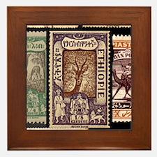 African Animals on Vintage Stamps Framed Tile