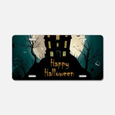 Happy Halloween Castle Aluminum License Plate