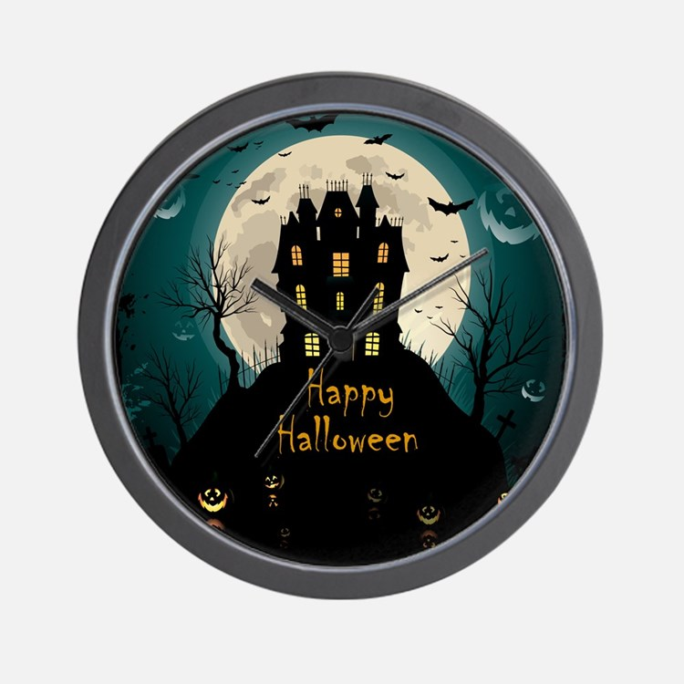 Happy Halloween Castle Wall Clock