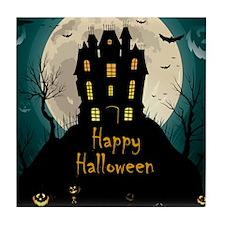 Happy Halloween Castle Tile Coaster