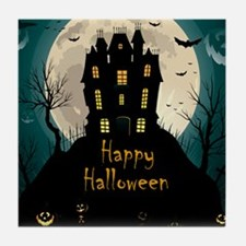 Happy Halloween Castle Tile Coaster