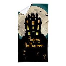 Happy Halloween Castle Beach Towel