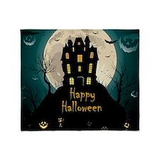 Happy Halloween Castle Throw Blanket