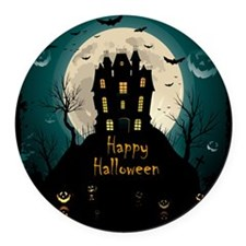 Happy Halloween Castle Round Car Magnet