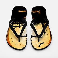Happy Halloween Scarecrow Flip Flops