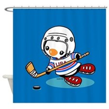 Ice Hockey Penguin Shower Curtain