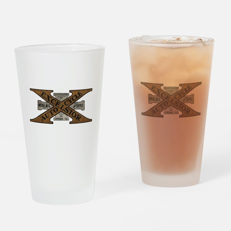 Excelsior Motorcycle Retro Logo Drinking Glass