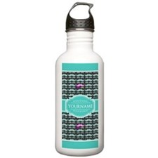Teal Turquoise Mustach Water Bottle
