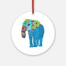 Tangled Elephant Blue Round Ornament