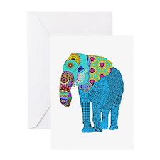Tangled Elephant Blue Greeting Cards