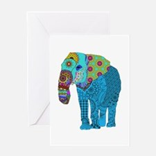 Tangled Elephant Blue Greeting Cards