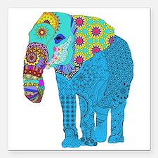 "Tangled Elephant Blue Square Car Magnet 3"" x 3"""