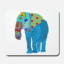 Tangled Elephant Blue Mousepad