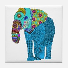Tangled Elephant Blue Tile Coaster