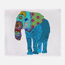 Tangled Elephant Blue Throw Blanket