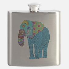Tangled Elephant Blue Flask