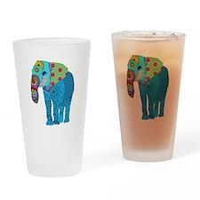 Tangled Elephant Blue Drinking Glass