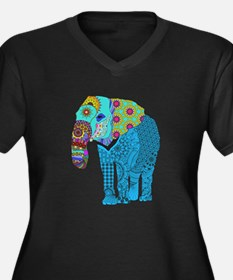 Tangled Elephant Blue Plus Size T-Shirt