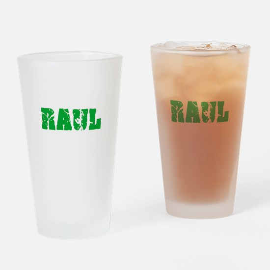 Raul Name Weathered Green Design Drinking Glass