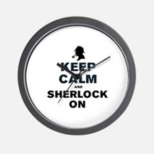 KEEP CALM AND SHERLOCK ON Wall Clock