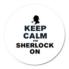 KEEP CALM AND SHERLOCK ON Round Car Magnet