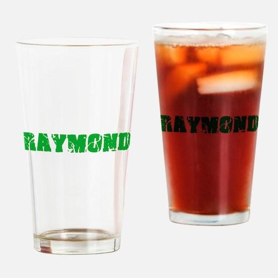 Raymond Name Weathered Green Design Drinking Glass