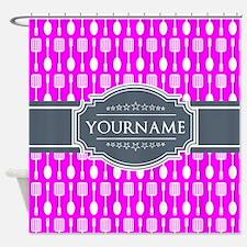 Custom Hot Pink Kitchen Untensils I Shower Curtain