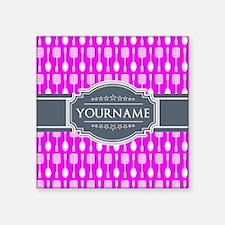 """Custom Hot Pink Kitchen Unt Square Sticker 3"""" x 3"""""""