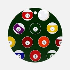 Green Pool Ball Billiards Pattern Round Ornament