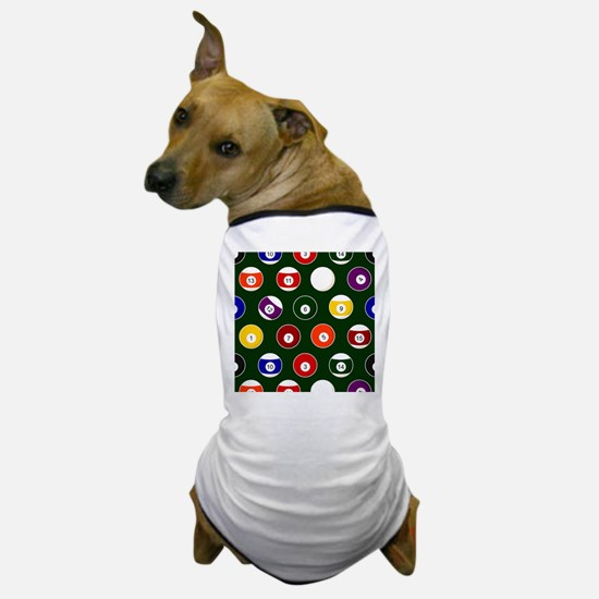 Green Pool Ball Billiards Pattern Dog T-Shirt