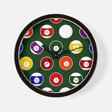 Green Pool Ball Billiards Pattern Wall Clock
