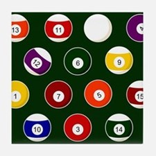 Green Pool Ball Billiards Pattern Tile Coaster