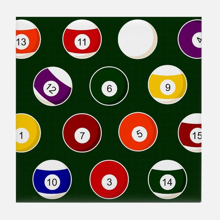 Green Pool Ball Billiards Pattern Tile Coaster
