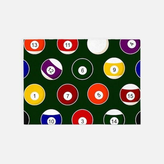 Green Pool Ball Billiards Pattern 5'x7'Area Rug
