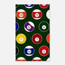 Green Pool Ball Billiards Pattern Area Rug