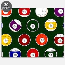 Green Pool Ball Billiards Pattern Puzzle