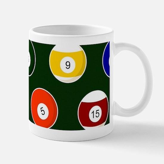 Green Pool Ball Billiards Pattern Mugs