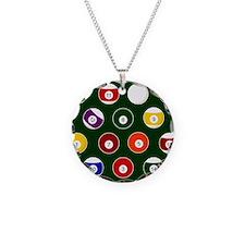 Green Pool Ball Billiards Pattern Necklace