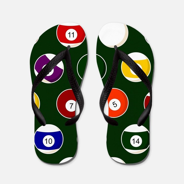 Green Pool Ball Billiards Pattern Flip Flops