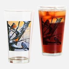 SRose Winter Robins Drinking Glass