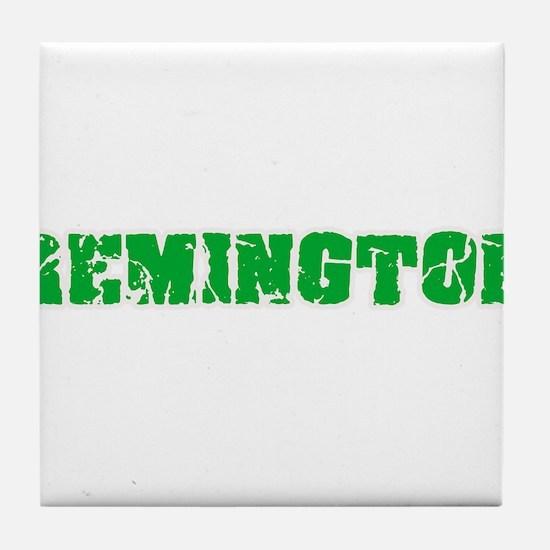 Remington Name Weathered Green Design Tile Coaster