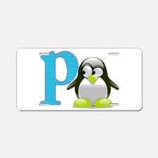 P is for Penguin Aluminum License Plate