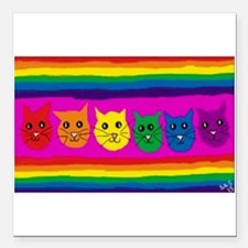 "Gay rainbow cats Square Car Magnet 3"" x 3"""