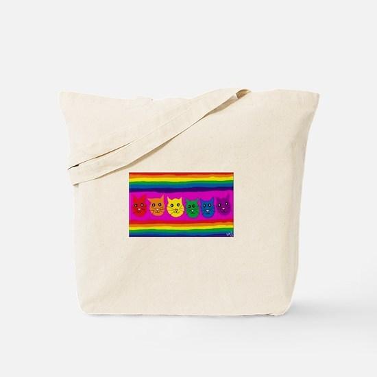 Gay rainbow cats Tote Bag